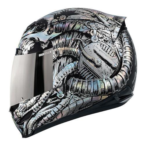 Icon Helmet Graphics Helmet Silver · Icon