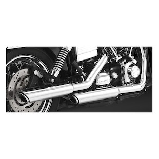 """Vance & Hines 3"""" Round Twin Slash Slip-On Exhaust For Harley Dyna 1991-2015 Chrome / Slip On [Blemished]"""