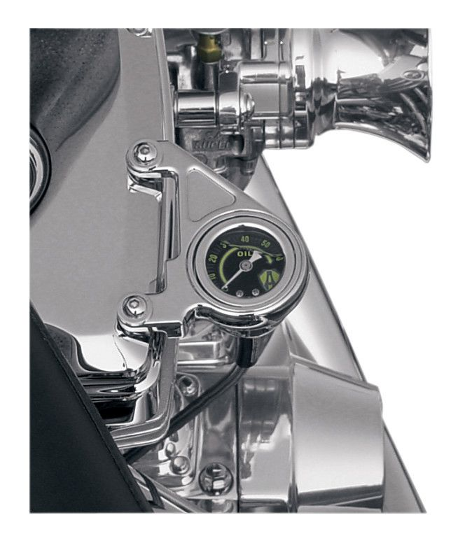 Chrome Black Face Oil Pressure Gauge Kit Harley Twin Cam Touring Dyna Softail