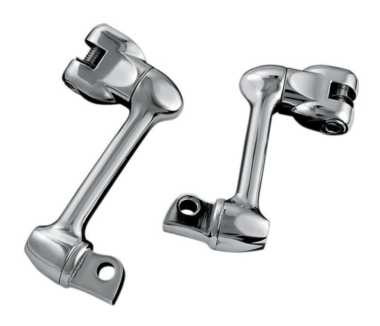 Chrome Soft-Ride Driver Foot Pegs Harley Offset Mount Read Description