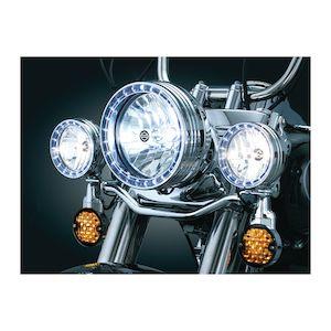 "Kuryakyn LED Halo 4 1/2"" Passing Lamp Trim Rings For Harley 1984-2016"