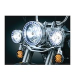 "Kuryakyn LED Halo 4 1/2"" Passing Lamp Trim Rings For Harley 1984-2016"