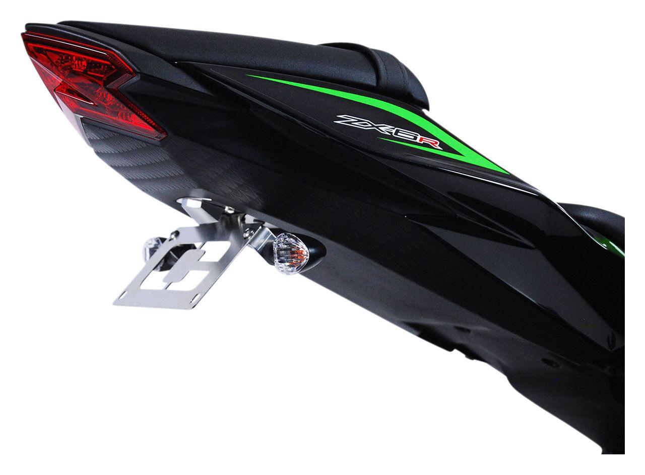 Black Curved Rear Tag Bracket Swingram Mount For Kawasaki  ZX6RR ZX10R 12R 14R