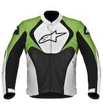 Alpinestars Jaws Perforated Leather Jacket Black/White/Green / 56 [Blemished]