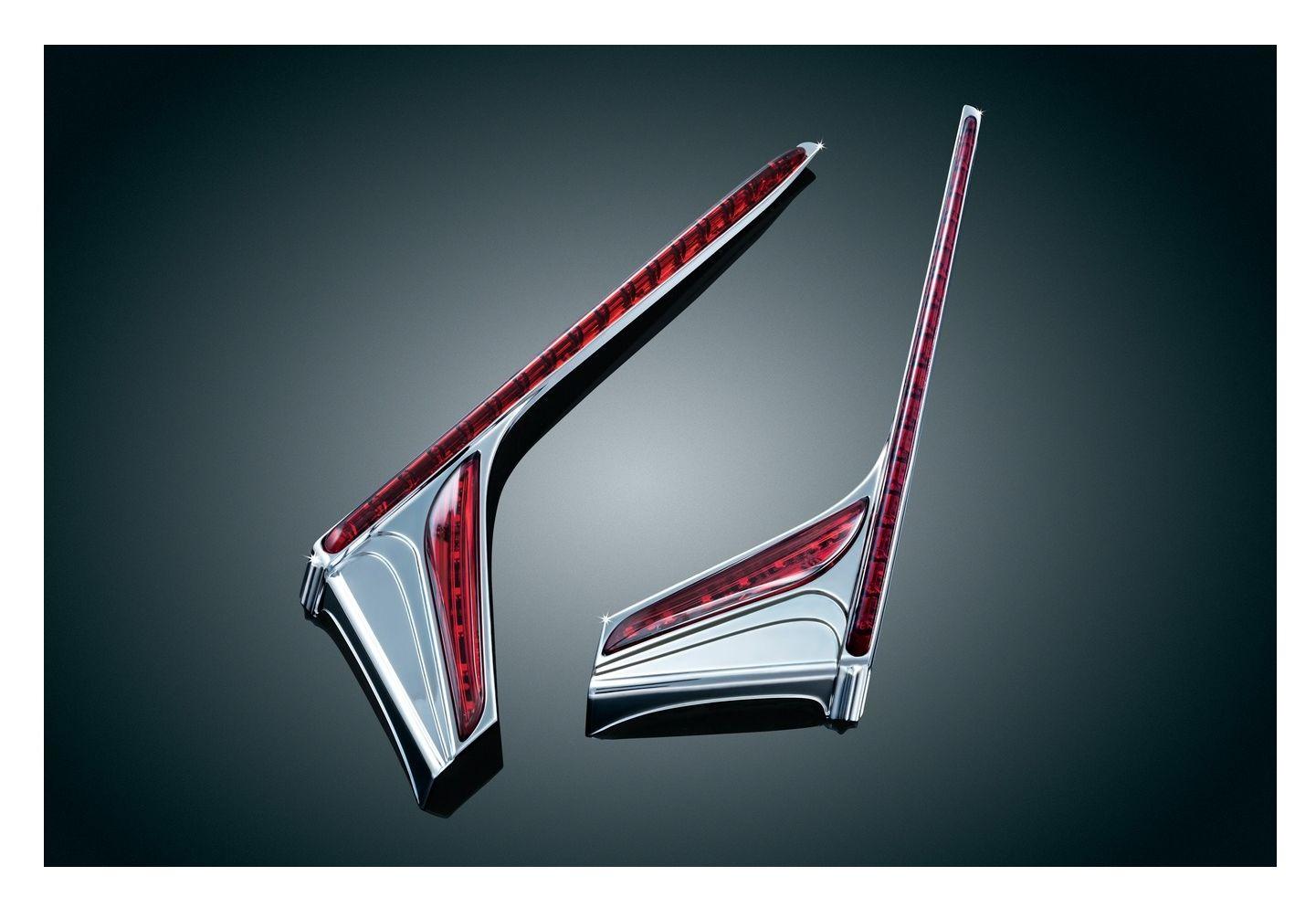 Kuryakyn LED Vertical Rear//Brake Light Strips Chrome w//Red Lens 3237