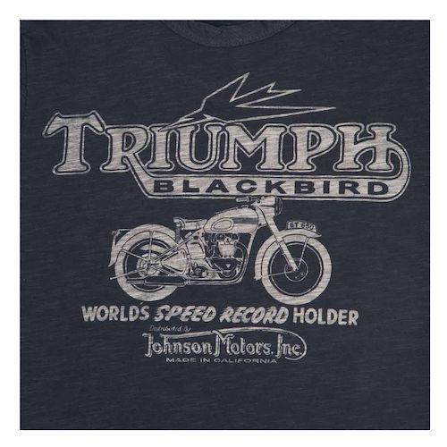 triumph johnson motors blackbird women's t-shirt - revzilla