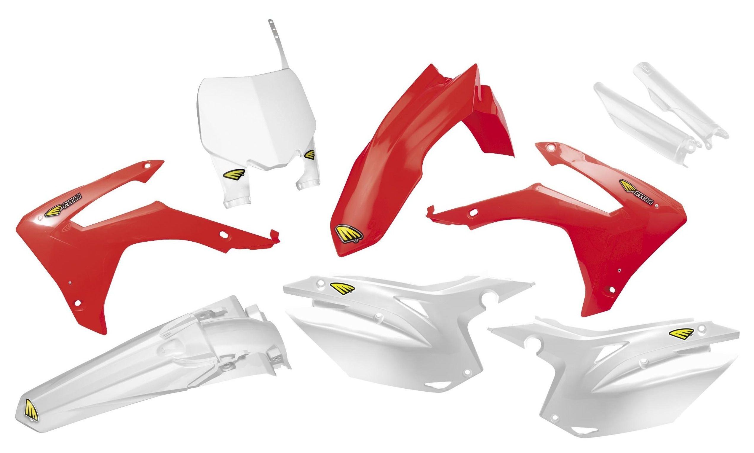 Honda CRF250R CRF450R 2017–2019 Cycra Powerflow Full Plastic Body Kit White//Red