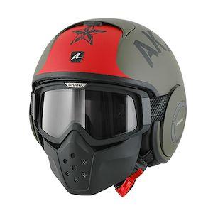 Shark Drak Soyouz Helmet Matte Green/Red / XS [Blemished - Very Good]