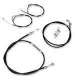 """LA Choppers Handlebar Cable And Brake Line Kit For Harley Softail 2007-2014 18""""-20"""" Apes / Black Vinyl [Previously Installed]"""