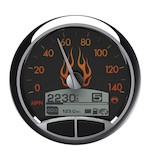 "Medallion Flames 5"" Console Speedo Gauge For Harley 1999-2003"