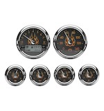 Medallion Flames Bagger Gauge Kit For Harley Touring 2000-2003