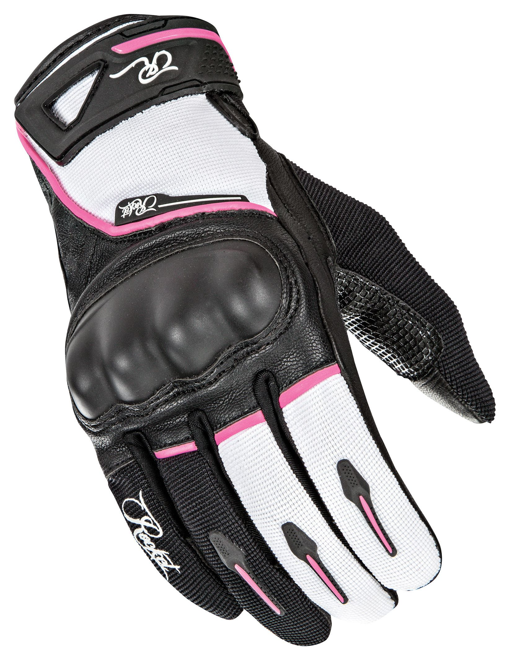 Womens pink leather motorcycle gloves - Womens Pink Leather Motorcycle Gloves 1