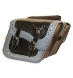 Willie & Max Grey Thunder Studded Throw-Over Slant Saddlebags