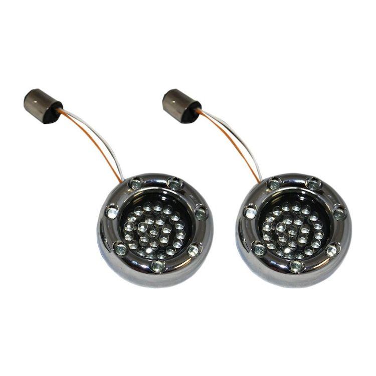 Custom Dynamics LED Deuce Bullet Rings For Harley 1156 Bulb Red & Amber Bulbs w/ Smoke Lens / Chrome [Open Box]