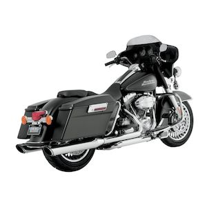 "Vance & Hines 4"" Round Twin Slash Slip-On Mufflers For Harley Touring 1995-2016"