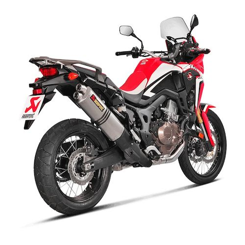 akrapovic homologated slip on exhaust honda africa twin 2016 2017 revzilla. Black Bedroom Furniture Sets. Home Design Ideas