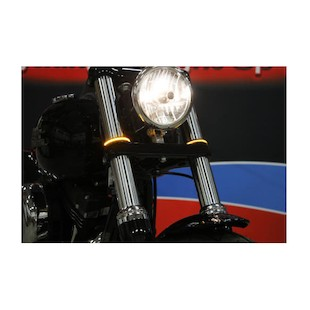 Custom Dynamics LED Fork Wrap Arounds Turn Signals Chrome w/Smoke Lens / 39MM [Open Box]