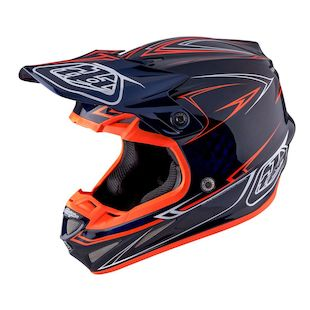 Troy Lee SE4 Pinstripe Carbon Helmet (Color: Navy/Orange / Size: XL)