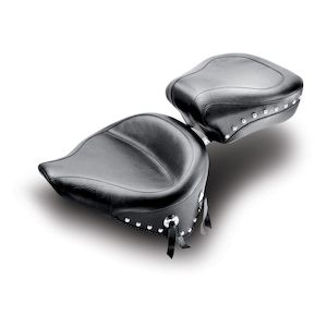 Mustang Wide Solo Seat For Harley Softail With 150mm Rear Tire 2000-2007 Black / Studded [Previously Installed]