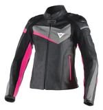 Dainese Veloster Women's Leather Jacket (Black/Anthracite/Fuchsia Only)