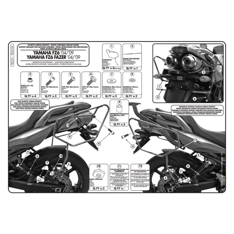 Givi TE351 Easylock Saddlebag Supports Yamaha FZ6 2007-2010