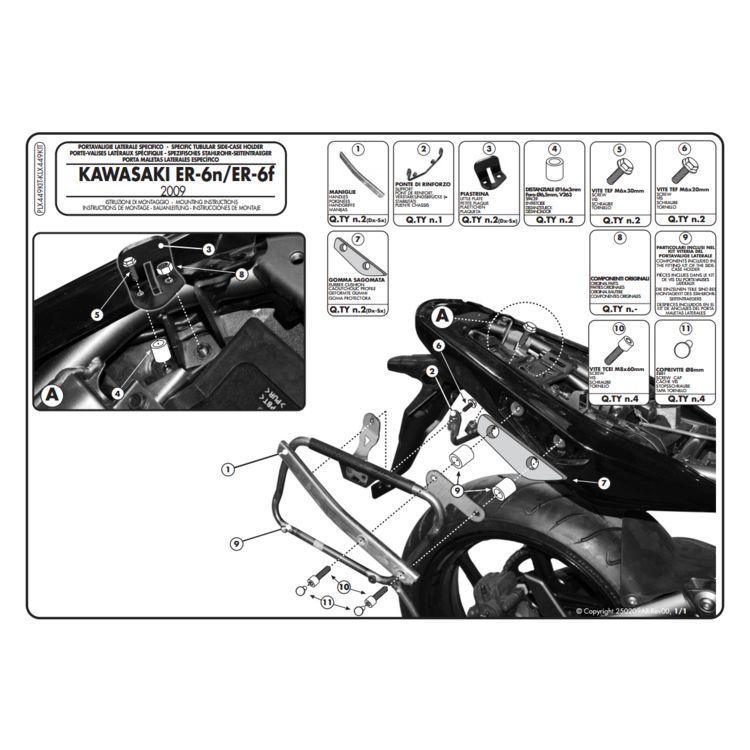 Givi PLX449KIT Brackets For Side Case Racks Kawasaki ER-6N / Ninja 650R 2009-2011