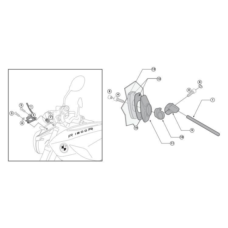 Givi A5100A Windshield Fit Kit BMW R1200R 2011-2014