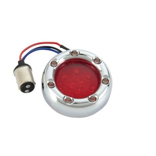 Arlen Ness LED 1157 Fire Ring Deuce Style Turn Signal Trim Rings For Harley Red Lens / Red Ring LEDs... [Open Box]