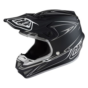 Troy Lee SE4 Pinstripe Helmet (Color: Black/Silver / Size: XS)