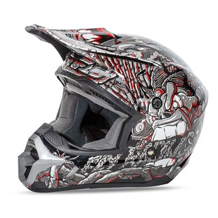 Fly Racing Youth Kinetic Jungle Helmet Grey/Red / LG [Open Box]