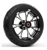 Performance Machine Paramount 17 x 6 Rear Wheel / Metzeler Tire Kit For Harley Touring 2009-2016