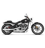 """Rinehart 3"""" Slip-On Mufflers For Harley Softail Deluxe / Slim 2007-2017 Chrome with Black End Caps [Previously Installed]"""