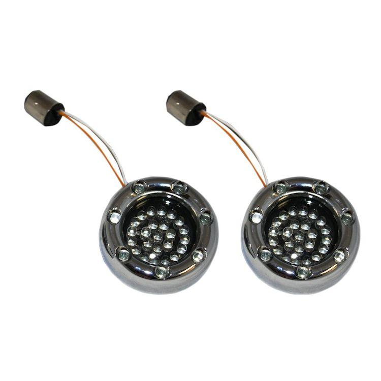 Custom Dynamics LED Deuce Bullet Rings For Harley 1156 Bulb Red Bulbs w/ Smoke Lens / Black [Open Box]