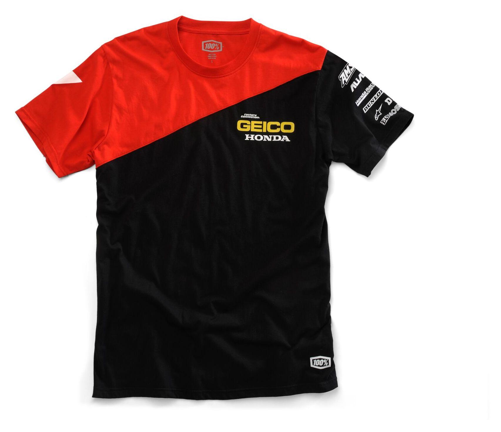100 Team Geico Honda Bias T Shirt Lg Revzilla