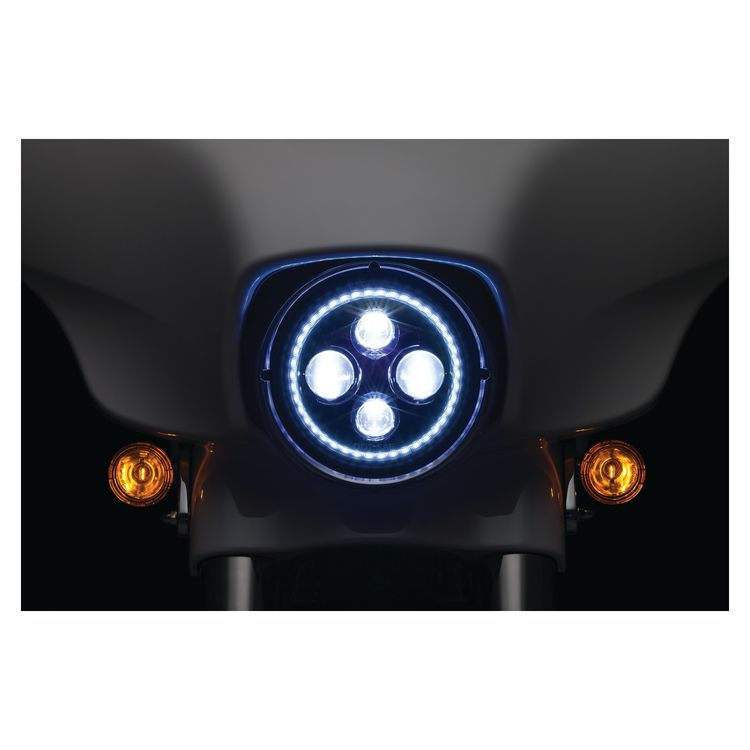 "Kuryakyn Orbit Vision 7"" LED Halo Headlight For Harley 1991-2018"