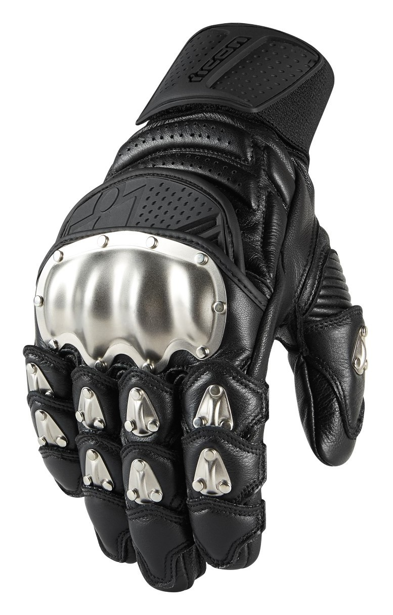 ICON TIMAX BLACK Leather Armored Short Gloves FREE SHIPPING