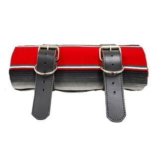 La Rosa Leather Bedroll Belts and Mexican Serape Blanket