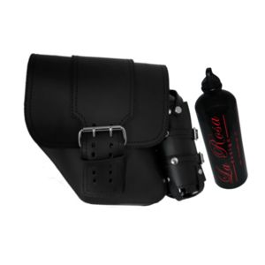 La Rosa Straight-Back Solo Side Bag With Fuel Bottle For Harley Dyna 2006-2017