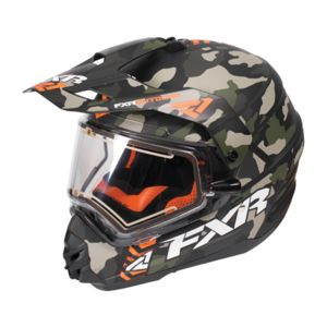 FXR Torque X Squadron Helmet - Electric Shield Army Urban Camo/Orange / MD [Open Box]