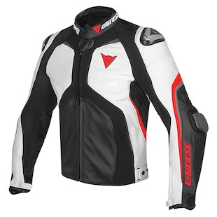 Dainese Super Rider Leather Jacket Black/White/Fluo Red / 58 [Blemished - Very Good]