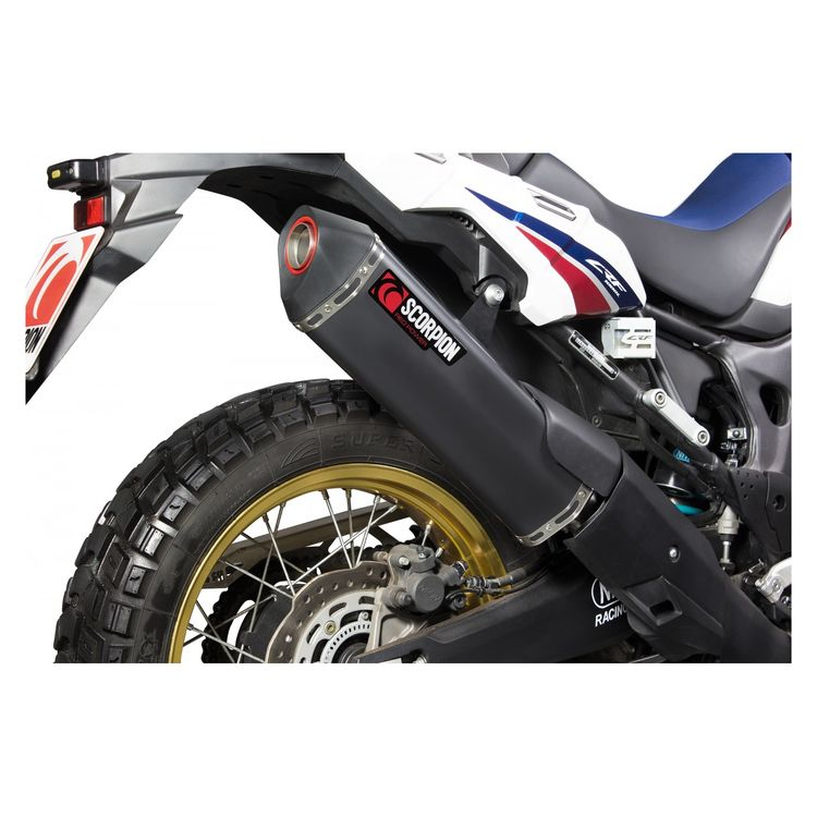 scorpion serket parallel slip on exhaust honda africa twin 2016 2019 10 off revzilla. Black Bedroom Furniture Sets. Home Design Ideas