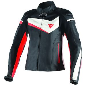 Dainese Veloster Women's Leather Jacket Black/White/Fluo Red / 46 [Blemished - Very Good]