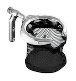 Kuryakyn Drink Holder Hand Control Perch For Harley 1982-2016 With Mesh Basket / Gloss Black [Previously Installed]