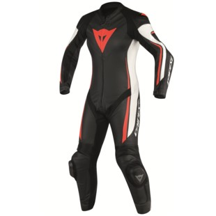 Dainese Assen Perforated Women's Race Suit Black/White/Fluo Red / 44 [Blemished - Very Good]
