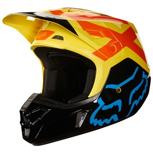 Fox Racing V2 Preme Helmet (Color: Black/Yellow / Size: SM)