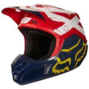 Fox Racing V2 Preme Helmet (Color: Navy/Red / Size: XS)