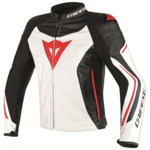 Dainese Assen Leather Jacket White/Black/Lava Red / 56 [Blemished - Very Good]
