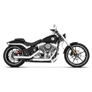 Rinehart Kick Backs Exhaust For Harley Softail Breakout 2013-2017 Chrome End Caps / Black Exhaust [Previously Installed]