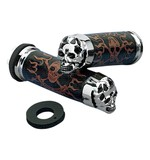 Drag Specialties Skull Grips For Harley With Dual Cable Throttle