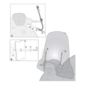 Givi A5606A Windshield Fit Kit Piaggio BV350 2012-2016